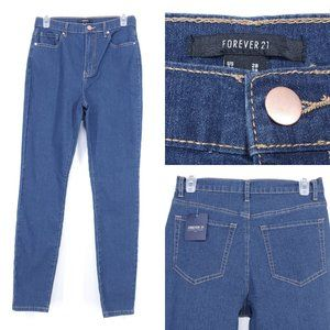 NWT Forever 21 High Rise Skinny Jeans Stretch Blue